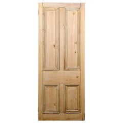 Victorian 4 Beaded Panel Stripped Pine Door, 20th Century
