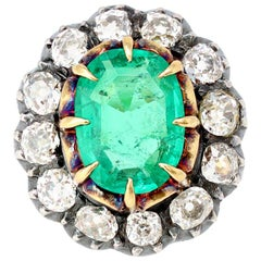 Victorian 4 Carat Colombian Emerald Ring with Old Mine Cut Diamonds