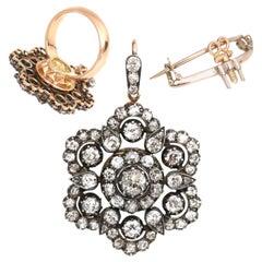 Victorian 4 Carat Diamond Gold Ring Brooch Pendant Transformer