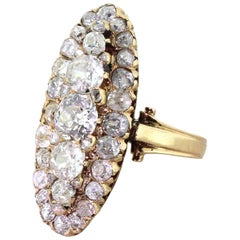 Victorian 4.00 Carat Old Cut Diamond Cluster Ring