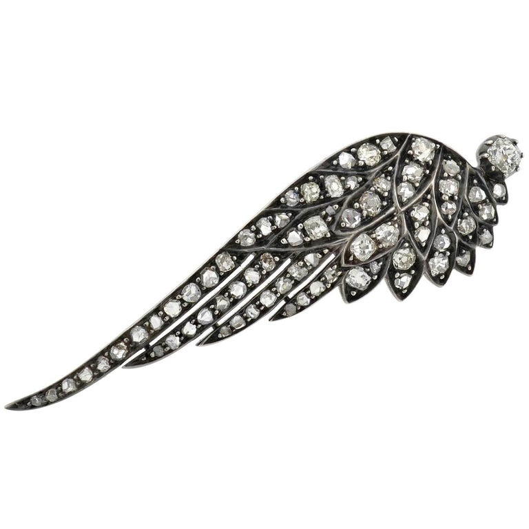 Old Mine Cut Victorian 4.00 Total Carat Diamond Tremblé Wings Tiara and Pin in Original Box For Sale