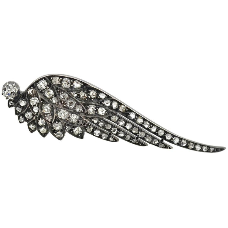 Victorian 4.00 Total Carat Diamond Tremblé Wings Tiara and Pin in Original Box In Good Condition For Sale In Narberth, PA