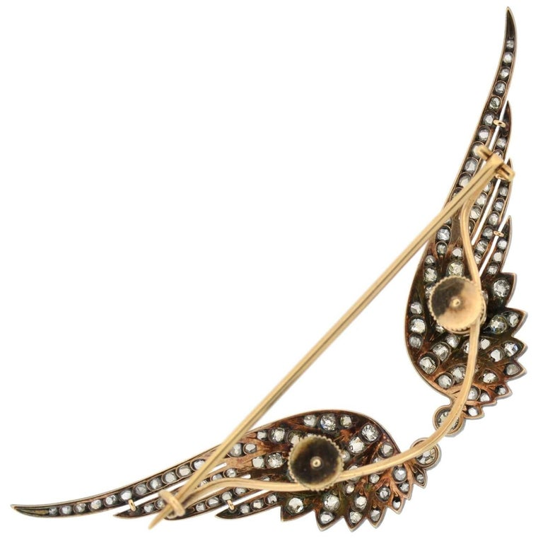 Victorian 4.00 Total Carat Diamond Tremblé Wings Tiara and Pin in Original Box For Sale 2