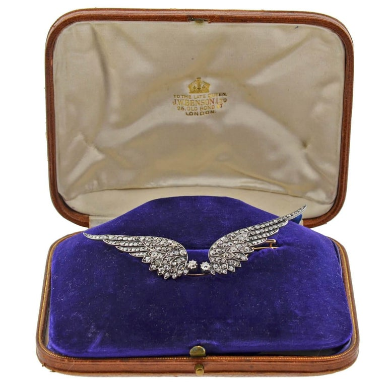 Victorian 4.00 Total Carat Diamond Tremblé Wings Tiara and Pin in Original Box For Sale 3