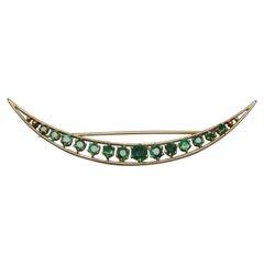Victorian 4.50 Carat Emerald New Orleans Crescent Pin