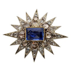 Victorian 4.50 Carat Natural No Heat Sapphire Diamond Star Brooch Pendant