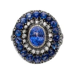 Victorian 5+ Carat AGL Ceylon No Heat Blue Sapphire Center Double Halo Ring