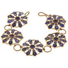 Victorian 50.00 Ct Untreated Ceylon Sapphire Rare Flower Bracelet