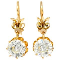 Victorian 5.06 Carat Old European Cut Diamond Drop 14 Karat Gold Earrings GIA
