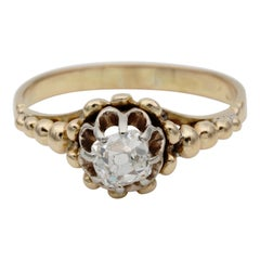Victorian .55 Carat Old Mine Cut Diamond Rare Solitaire Ring