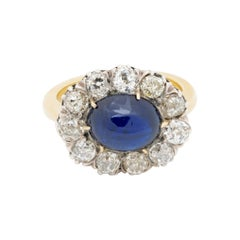 Victorian 5.90 Carat Natural No Heat Sapphire 2.90 Carat Mine Diamond Ring