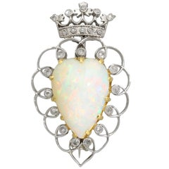 Victorian 5.95 Carat Opal and Diamond Platinum Brooch