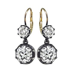 Victorian 5.98cttw Diamond Silver and Gold Earrings