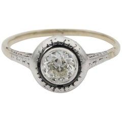 Victorian .60 Carat Solitaire Diamond Rare Target Ring