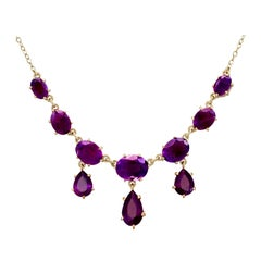 Victorian 6.22 Carat Amethyst and Yellow Gold Necklace