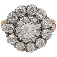 Victorian 6.25 Carat old Mine Cut Diamond Rare Cluster Ring
