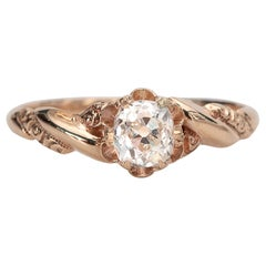 Victorian .64 Ct Old Mine Cushion Cut Diamond Buttercup Solitaire Rose Gold Ring