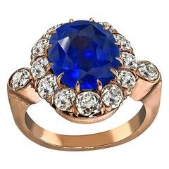 Victorian 6.45 Carat Sapphire 1.80 Carat Diamond Engagement Ring