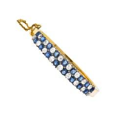 Victorian 6.65 Carat Diamond Sapphire 18 Karat Gold Bangle Bracelet
