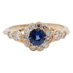 Victorian .70 Carat Natural Blue Sapphire and Diamond Distinctive Ring