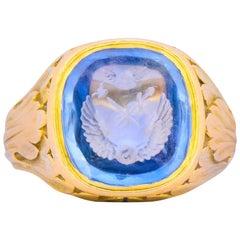 Viktorianische 7,00 Karat Intaglio Saphir 18 Karat Gold Unisex Siegelring