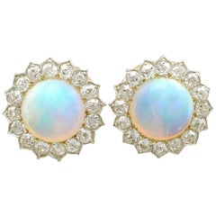Victorian 7.76 Carat Opal and 2.05 Carat Diamond Yellow Gold Earrings