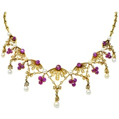 Victorian 7.95 Carat Diamond Ruby Pearl 18 Karat Gold Fringe Necklace