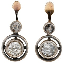 Victorian .80 Carat Diamond Solitaire Pretty Target Earrings