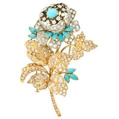 Victorian 8.00 Carat Diamond Turquoise 18 Karat Gold Floral Tremblant Brooch