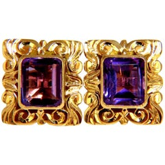 Victorian 8.50 Carat Natural Amethyst Earrings 18 Karat