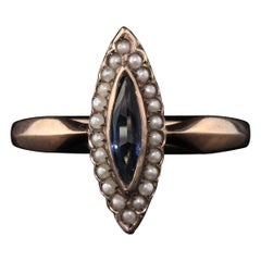 Antique Victorian 8K Rose Gold Sapphire & Seed Pearl Navette Ring