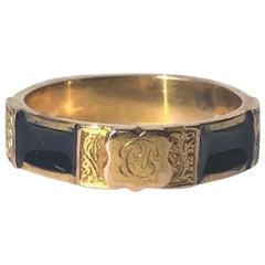 Victorian 9 Carat Gold and Blue Enamel Regard Ring