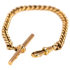 Victorian 9 Carat Gold Curb Bracelet with T-Bar