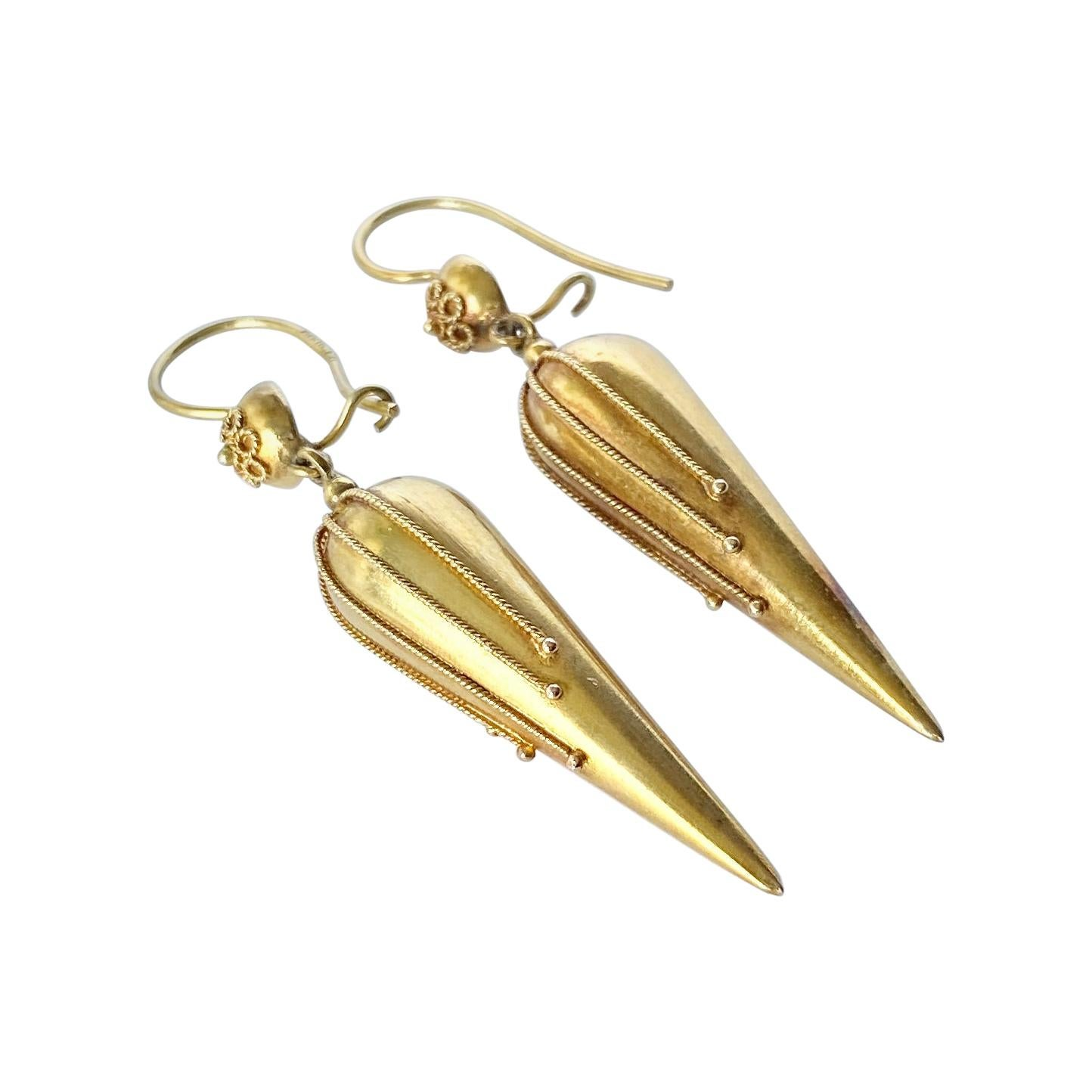 Victorian 9 Carat Gold Dangle Earrings