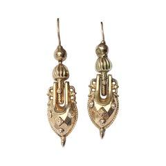 Victorian 9 Carat Gold Dangle Earrings