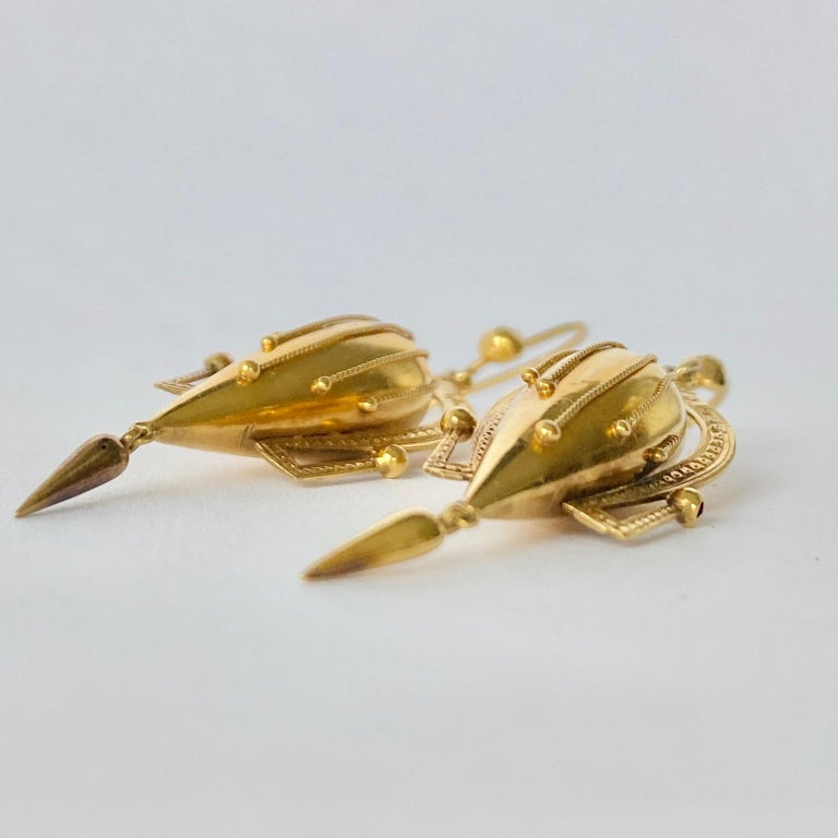 Women's or Men's Victorian 9 Carat Gold Dangle Etruscan Revival Earrings For Sale