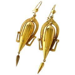 Victorian 9 Carat Gold Dangle Etruscan Revival Earrings