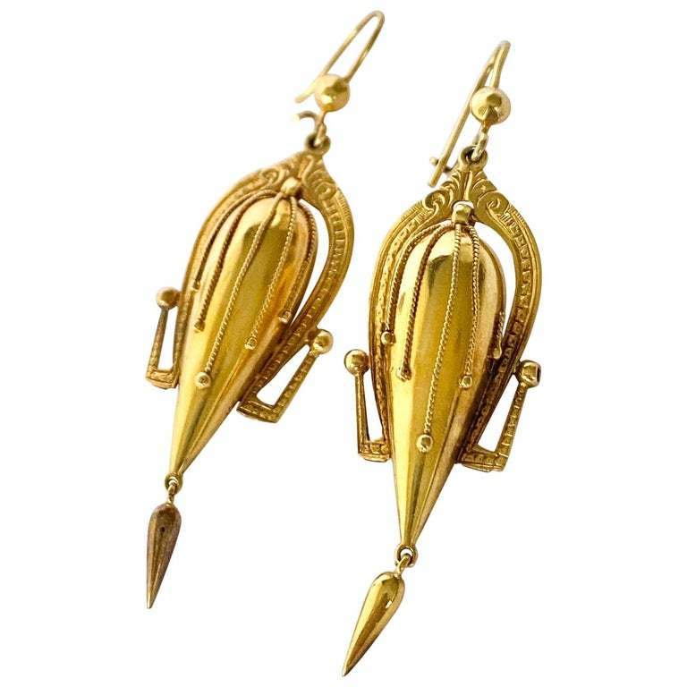 Victorian 9 Carat Gold Dangle Etruscan Revival Earrings For Sale