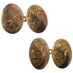 Victorian 9 Carat Gold Engraved Cufflinks