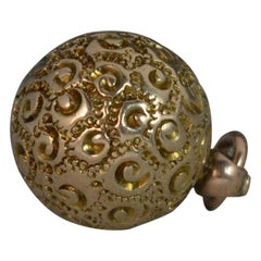 Victorian 9 Carat Gold Floral Ball Sphere Pendant Charm