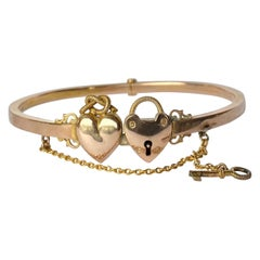 Victorian 9 Carat Gold Lock and Key Bangle