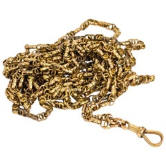 Victorian 9 Carat Gold Longuard Chain with Dog Clip