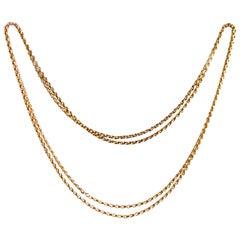 Victorian 9 Carat Gold Longuard Necklace