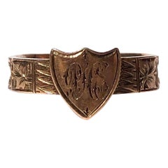 Victorian 9 Carat Gold Shield Motif Mourning Band