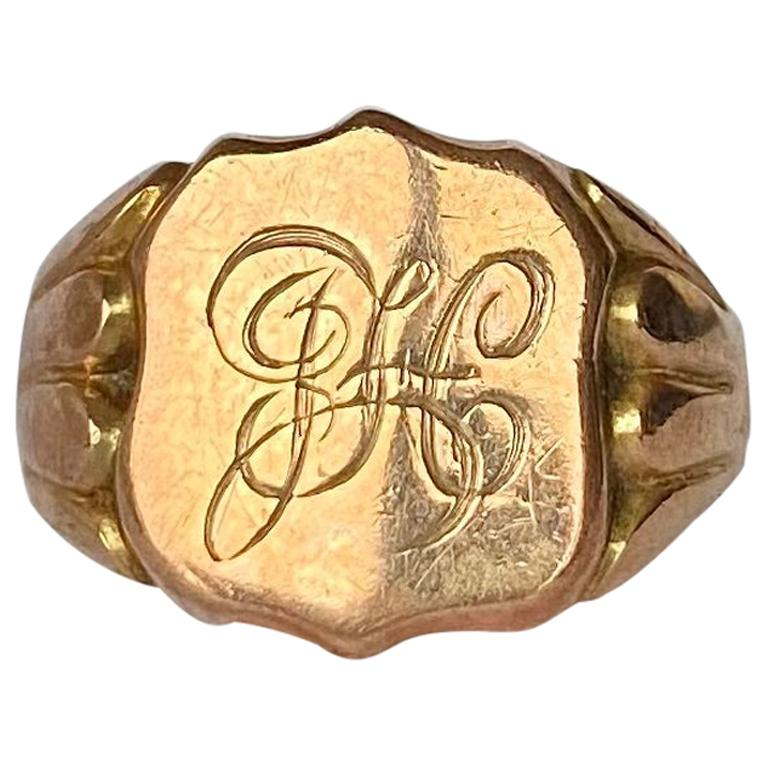 Victorian 9 Carat Gold Signet Ring For Sale
