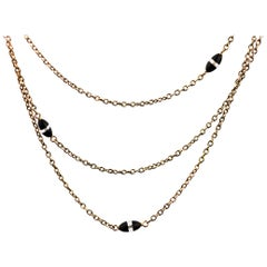 Antique, Victorian Guard Chain, 3 Row Rose Gold Necklace, Onyx & Rock Crystal