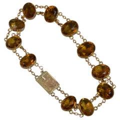 Victorian 9 Carat Rose Gold and Citrine Bracelet