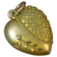 Victorian 9 Carat Rose Gold Puffed Heart Pendant Charm