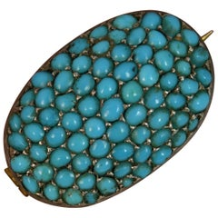 Victorian 9 Carat Yellow Gold and Turquoise Bombe Cluster Brooch