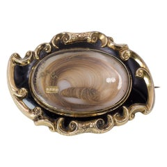 Victorian 9 Karat Gold, Black Enamel and Hair Mourning Brooch
